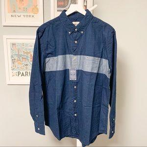 American Eagle Chambray Stripe Button-Down Shirt